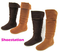 NEW Womens Fashion Boots Shoe Knee High Flat Foldable Cuff Slouch Boot Round Toe