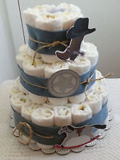 3 Tier Country Western Blue Denim Diaper Cake Baby Shower Centerpiece Boy Girl