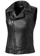Ladies Women Real Leather Motorcycle Biker Waistcoat Vest Gilet S-XXL