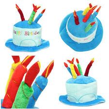 Happy Birthday Cake Candle Funny Hat Plush Cap Adult Kids Party Costume Cosplay