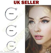 Sterling Silver Thin Small Silver Open Nose Ring Hoop 0.6mm Cartilage Piercing