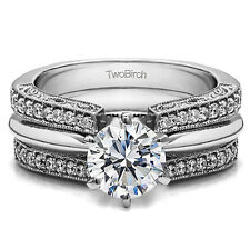1.29CT Cubic Zirconia Wedding Ring Set with 1 CT CZ Solitaire in Sterling Silver