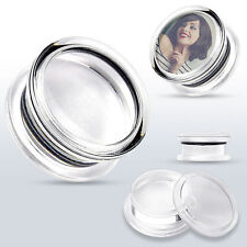 """PAIR Clear Acrylic """"Add Your Own Image""""  Double Flared Screw Fit Plugs"""