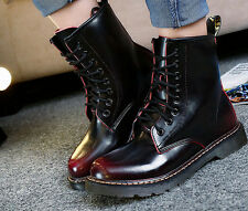 New Womens Flat England Lace Up Ankle Boot Military Punk Motorcycle Retro Shoes