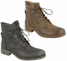 Ladies Womens Combat Army Military Biker Ankle Boots Lace Up Low Wedge Heel New