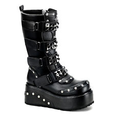Men's Demonia Truck-200 Platform Calf Boot Black Goth Punk Studded