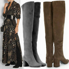 US5-US10Womens Black Flock Riding Thigh High Over the Knee Boots 60cm Tall Pumps