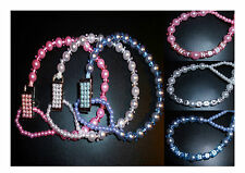 Perfect Pearl Pink Blue White Crystal Bling Baby Romany dummy pacifier clip gift