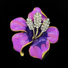 Female Charming Flower Rhinestone Crystal  Enamel Brooch Lady Wedding Brooch Pin