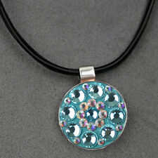 Hand-made Crystal Ball Marker with Magneitc Pendant Necklace Black Leather Cord