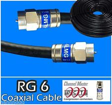 RG6 PCT F 30 - 300 Ft Black Coaxial Coax Cable Wire Satellite HD Antenna TV new
