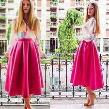 WOMENS LADIES MIDI LENGTH SCUBA STRETCHY FLARED SWING SKATER MIDI LONG SKIRT NEW