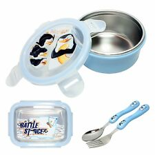 Madagascar Penguin Round Rectangular Lunch Box Spoon Fork Set Child Tableware