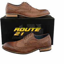Mens Gents New Brown Lace-up Leather Lined Smart Suit Wedding Brogues 6 - 12