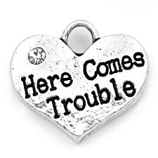 4 5 10 OR 20 PCS SILVER TONE RHINESTONE 'HERE COMES TROUBLE' HEART CHARMS No62