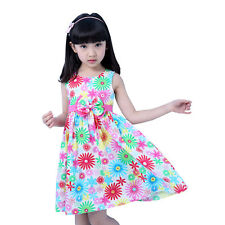 NWT Girls Dress Flower Print Bow Cotton Party Birthday Children Clothes  4-10Y
