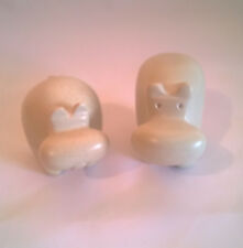 Pair of 5cms Natural Soapstone Hand Carved Abstract Hippos