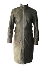 Ladies Leather Coat Double Slider Zipper High Collar Dress New All Sizes