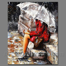 Rainy Day Oil Painting on Canvas Impressionist Art Red Dress Gril with Umbrella