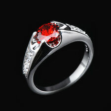 Garnet Red Ruby Wedding Ring 10KT White Gold Filled Women Jewellery Sz6/7/8/9/10