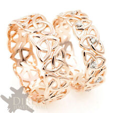 9ct REAL Rose GOLD GENUINE DIAMOND Celtic Trinity Knot HIS/HER Wedding Band Ring