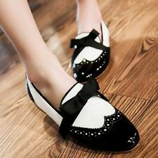 Women's Patent Leather Flats Slip On Brogue Oxfords Punk Goth Casual Shoes size