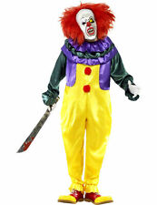 Mens Scary Circus Creepy Clown Jester Halloween Fancy Dress Costume
