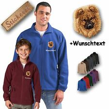 cuddly Fleecejacke jacket embroidered Embroidery Dog Chow Chow + Desired text
