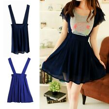Cute Women Girls Chiffon Suspender Skirt Summer Straps Flared Pleated Mini Skirt