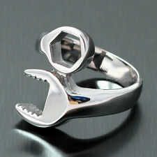 Mens Mechanic Wrench Ring Stainless Steel Silver US Size 7 8 9 10 11 12 13 14 15