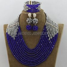 New Blue Silver Crystal Nigerian Traditional Wedding African Beads Jewelry Set