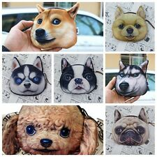Chic Kids 3D Pet Dog Face Zipper Case Coin Purse Wallet Coin Makeup Bag Pouch