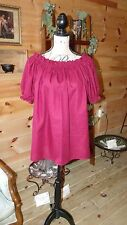 Pirate Wench Gypsy Renaissance Blouse Chemise Short Sleeve Burgundy