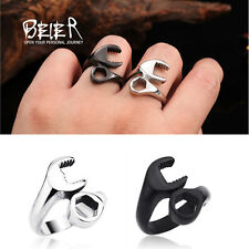 Mens Stainless Steel Ring Biker Mechanic Wrench Tool Multi US Size 8-13 Jewelry