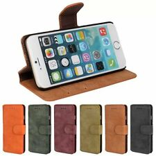 Retro Slim Frosted Leather Flip Wallet Card Holder Stand Case Cover for Phones