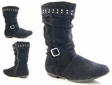 GIRLS KIDS FLAT BOOTS WINTER SLOUCH FAUX SUEDE BUCKLE FASHION BOOTS SIZE