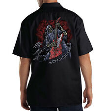 Dickies Mechanic Work Shirt Hatchet Man Grim Reaper Skull Guitar Rock & Roll