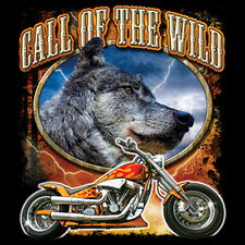 Call Of The Wild Motorcycle Rider Lone Wolf Biker T-Shirt Tee