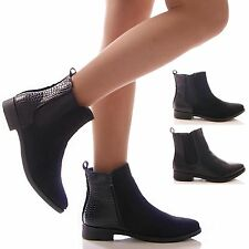 LADIES WOMENS BLACK ANKLE BOOTS SNAKE CHELSEA CASUAL LOW BLOCK HEEL SHOES SIZE