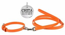 Leather Dog Collar Leash Set Puppy Extra Small Miniature Toy Cat Orange FREE TAG