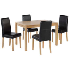 Oak Finish Dining Table and Chair Set 4 Leather Seats | Black Brown Red Cream