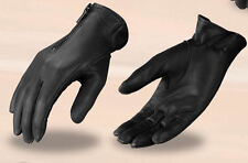 Women's Black Leather Motorcycle Gloves SH722