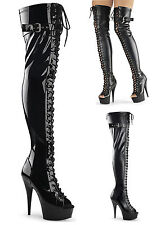 Pleaser Delight 3025 Thigh High Over The Knee Boots Heels Fetish Platform Buckle