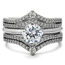 1.53CT Cubic Zirconia Wedding Ring Set with 1 CT CZ Solitaire in Sterling Silver
