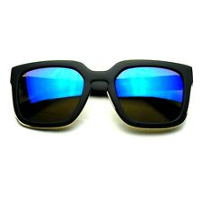 Horned Rim Block Hipster Flash Revo Thick Keyhole Sunglasses