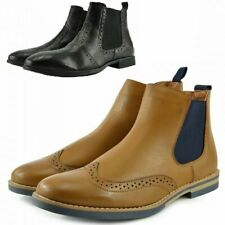 Mens Leather Style Zip on Chelsea Dealer Gusset Ankle Black Brown Formal Boots
