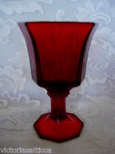 Collectible Mid-Century 1900's Ruby Red/Amberina Glass Octagon Shaped Goblet