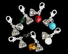Mini Lucky Buddha & Bead - Clip on Charms for Bracelet - Tibean Silver, Gemstone