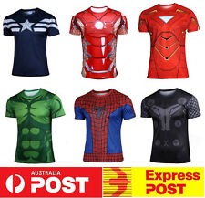 New Marvel Avenger Captain America Spider Hulk Thor Iron Man Armor Gym Tee Shirt