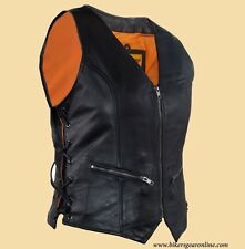 WOMEN'S MOTORCYCLE RIDING SOFT LEATHER VEST SIDE LACES GUN POCKET INSIDE BLACK